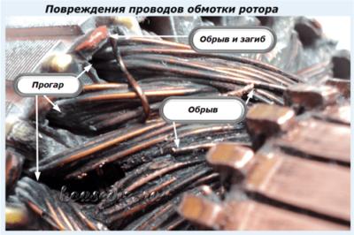 Повреждения проводов обмотки ротора