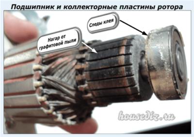 Подшипник и коллекторные пластины ротора