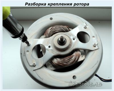 Разборка крепления ротора