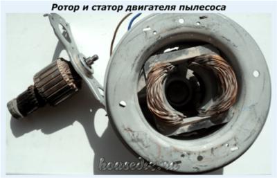 Ротор и статор двигателя пылесоса