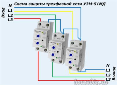 Схема защиты трехфазной сети УЗМ-51МД