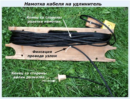 Намотка кабеля на удлинитель
