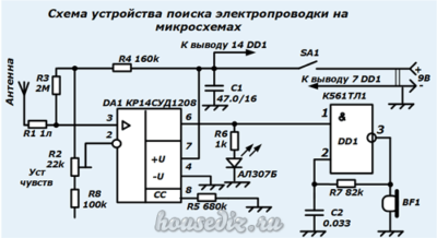 Схема устройства поиска электропроводки на микросхемах