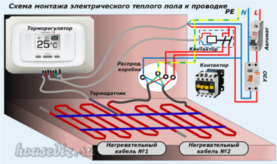 Схема монтажа электрического теплого пола к проводке