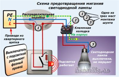 Схема предотвращения мигания светодиодной лампы