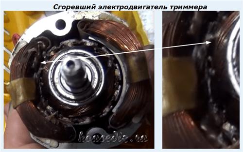 Сгоревший электродвигатель триммера