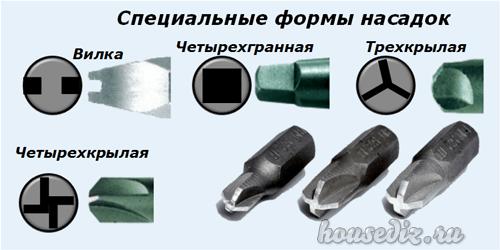 Специальные формы насадок
